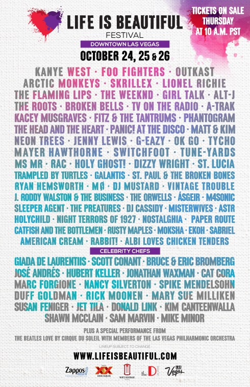 Life is Beautiful 2014 Lineup Poster